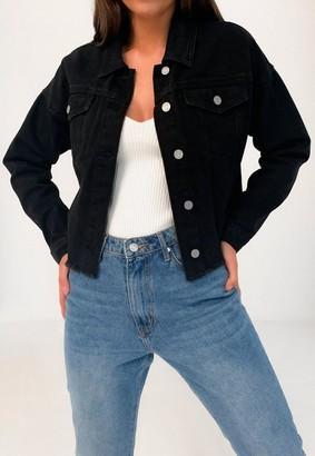 Missguided Black Double Pocket Frayed Hem Denim Jacket