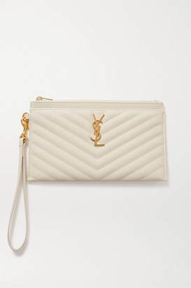 Saint Laurent Monogramme Large Quilted Textured-leather Pouch - Off-white