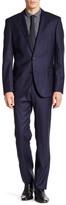 HUGO BOSS Navy Windowpane Two Button Notch Lapel Wool Suit