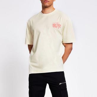 River Island Light stone Japanese printed box fit T-shirt