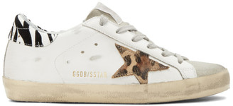 Golden Goose White Leopard Superstar Sneakers