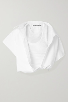 Alexander Wang Cropped Layered Cotton-twill And Ribbed Jersey Blouse - White