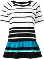 MICHAEL Michael Kors striped flared hem T-shirt - women - Polyester/Viscose - M