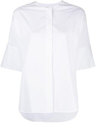 Alberto Biani Collarless Short-Sleeved Cotton Shirt
