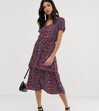 Y.A.S Tall Casia layered printed maxi dress-Multi