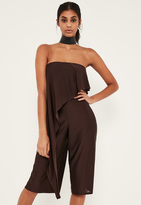 Missguided Brown Asymmetric Double Layer Culotte Romper