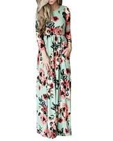 Tomteamell Womens Maxi Dress High Waist 3/4 Sleeve Floral Beach Party Dress S