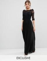 Little Mistress Lace Bardot Chiffon Maxi Dress