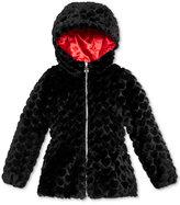 London Fog Faux-Fur Reversible Hearts Coat, Little Girls (2-6X)