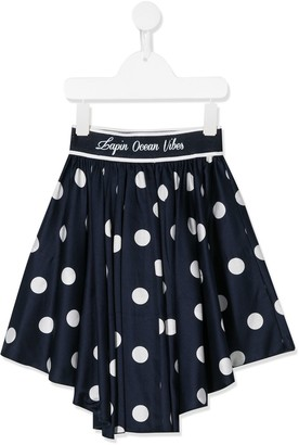 Lapin House Gathered Dip-Hem Polka-Dot Skirt