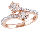 Rina Limor Fine Jewelry 14K Rose Gold, Morganite & 0.20 Total Ct. Diamond Bypass Ring