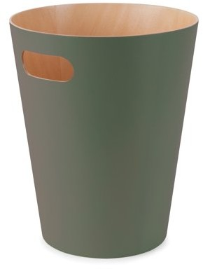 Umbra Woodrow Trash Can ? Duo-Tone Wood Wastebasket Garbage Can for Office, Study, Bathroom, Living Room, Powder Room and More, 2 Gallon/7.5 L