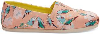Toms Coral Pink Kissing Birds Women's Classics