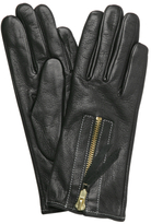 Michael Kors black deerskin zip detail gloves
