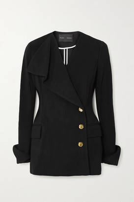 Proenza Schouler Double-breasted Draped Stretch-jersey Blazer - Black