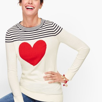 Talbots Button Back Heart Sweater