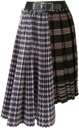 Chopova Lowena Pleated Tartan Bondage Skirt