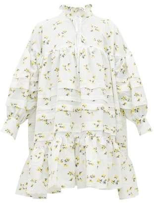 Cecilie Bahnsen - Macy High-neck Floral Fil-coupe Dress - Womens - Yellow White