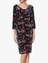 Gina Bacconi Hildie Velvet Dress, Sage Burgundy