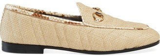Gucci Women's Jordaan chevron raffia loafer