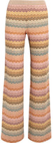Missoni Metallic Crochet-knit Wide-leg Pants - Peach