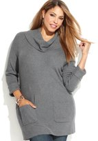 INC International Concepts INC Womens Plus Ribbed Knit Cowl Neck Tunic Sweater Gray