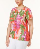INC International Concepts Plus Size Studded Tropical-Print Top, Created for Macy's