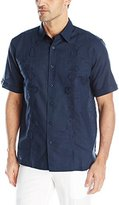 Cubavera Men's Short-Sleeve Decorative Front Pin Tuck Woven Shirt