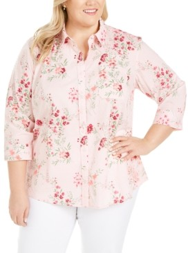 Karen Scott Plus Size Cotton Clip-Dot Shirt, Created for Macy's