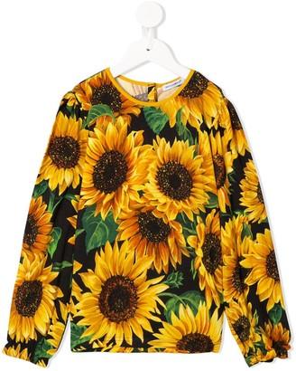 Dolce & Gabbana sunflower print long-sleeved T-shirt