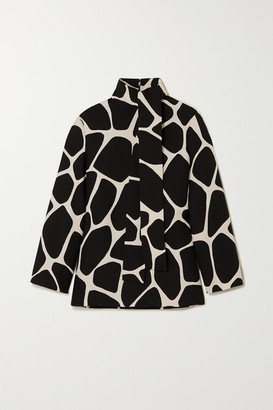 Valentino Printed Wool And Silk-blend Crepe Top - Black