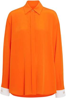 Burberry Contrast Cuff Silk Shirt