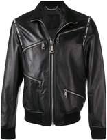 Philipp Plein classic leather bomber jacket
