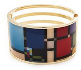 Avalaya Wide Geometric Pattern Hinge Bangle Bracelet In Gold Finish - 18cm Length