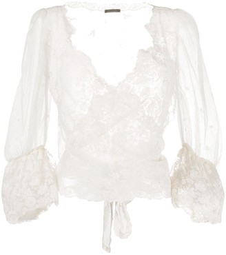 Cruciani Lace Wrap-Around Silk Blouse