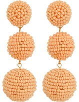 Kenneth Jay Lane 2 Peach Pink Seed Bead Wrapped Ball Post Earrings w/ Dome Top Earring