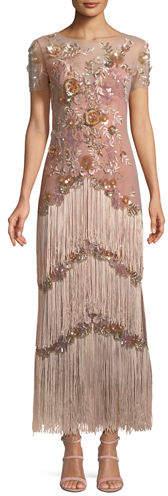 Marchesa Short-Sleeve Illusion Fringe Column Gown