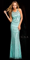 Scala Cascading Sea Shell Sequin Prom Dress