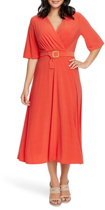 Chaus Belted Faux Wrap Midi Dress