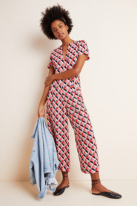 Traffic People Betty Geometric Jumpsuit By in Red Size XS