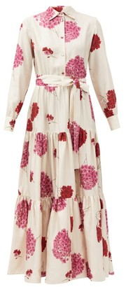La DoubleJ Bellini Belted Floral-print Silk Maxi Shirt Dress - White Print