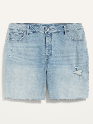 Old Navy Extra High-Waisted Secret-Slim Pockets Sky Hi Straight Plus-Size Button-Fly Cut-Off Jean Shorts -- 7-inch inseam