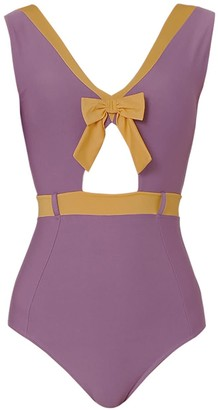 Qua Vino One Piece Swimwear With Ribbon Detail- Apple Crumble Date Deep Purple