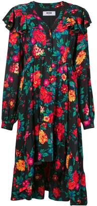 MSGM flared floral print dress