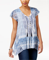 Style&Co. Style & Co Printed Handkerchief-Hem Top, Only at Macy's