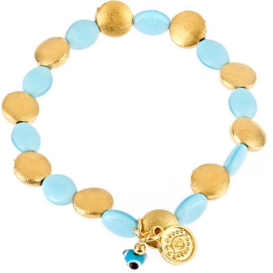 Blee Inara Stretchy Gold and Color Flat Beads Bracelet