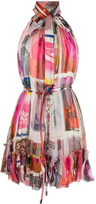 Zimmermann Halter Neck Poster Print Dress