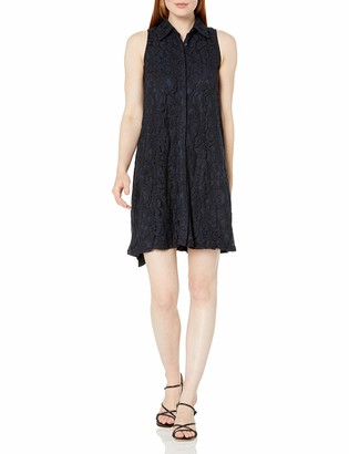 Sharagano Women's Sleeveless Button Front Hi Low Lace Dress