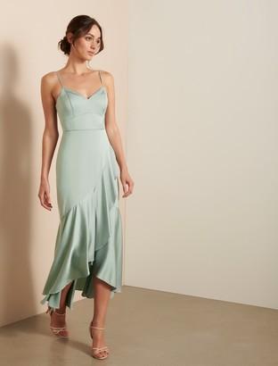 Forever New Hazel Wrap Frill Midi Dress - Pale Sage - 10