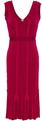 Herve Leger Fluted Ribbed-knit Dress